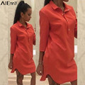 2017 Summer Women Shirt Dress Vestidos Casual Lapel 3/4 Sleeve Side Split Party Dresses Plus Size Solid Color Long Tops Blouses