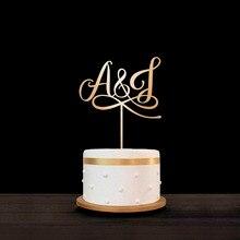Персональная помолвка Деревянный Торт Топпер лазерные инициалы торт Топпер на заказ акриловое зеркало золотистого цвета свадебный вензель торт Топпер