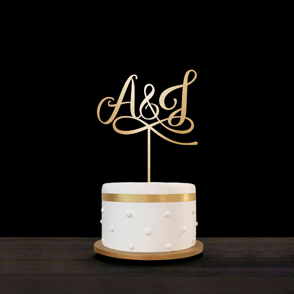 Personalized Engagement Wood Cake Topper Laser Out Initials Cake Topper Custom Gold Mirror Acrylic Wedding Monogram Cake Topper