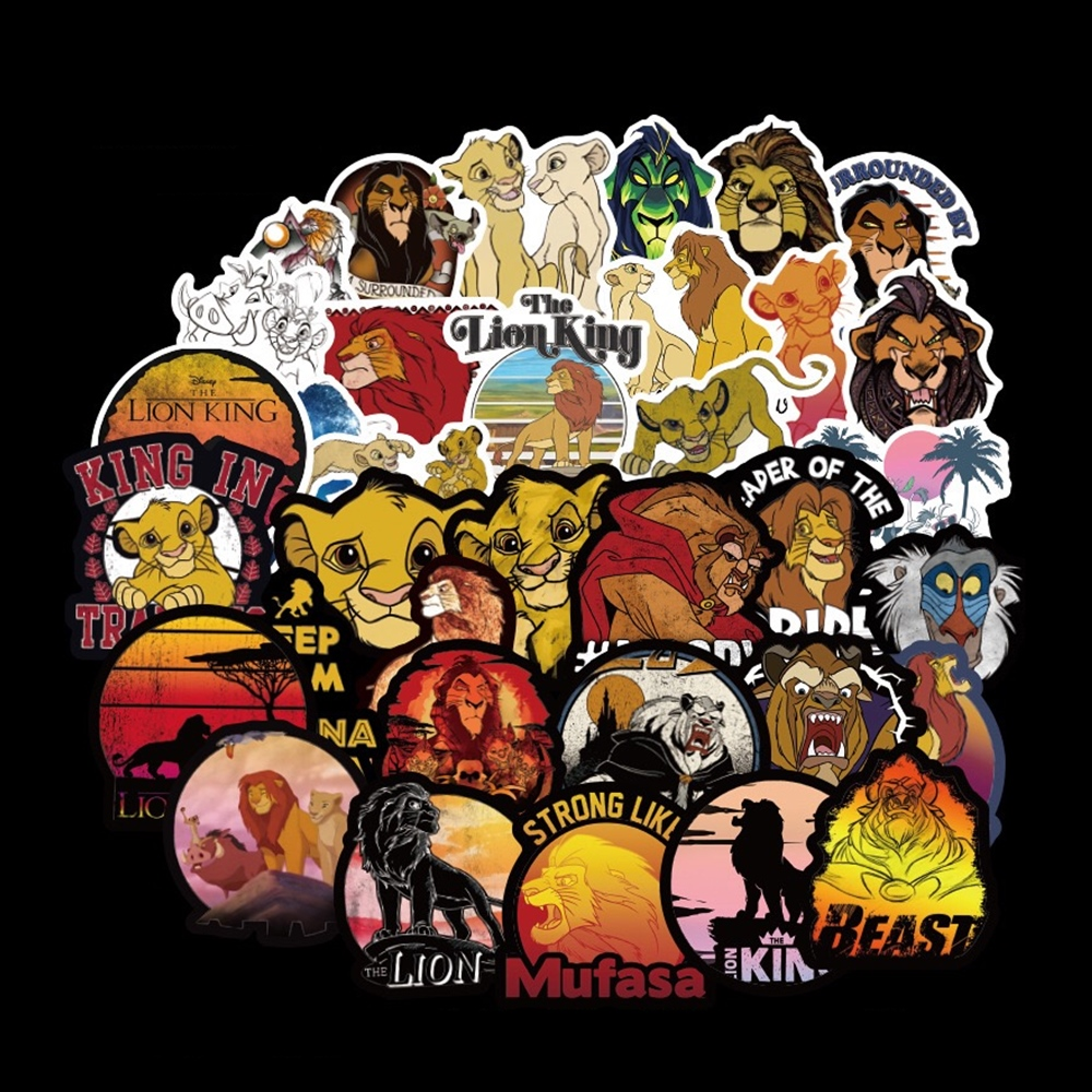 50pcs/set The Lion King PVC Waterproof Fun Sticker Kids Toy Laptop Sticker Motorcycle and Luggage Notebook Cartoon Sticker(China)