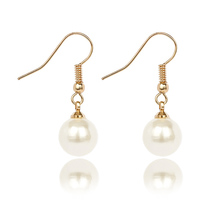 2019 Fashion Simple Women Long Dangle Hook Geometric Pearl Earrings Korean Elegant Gift M17