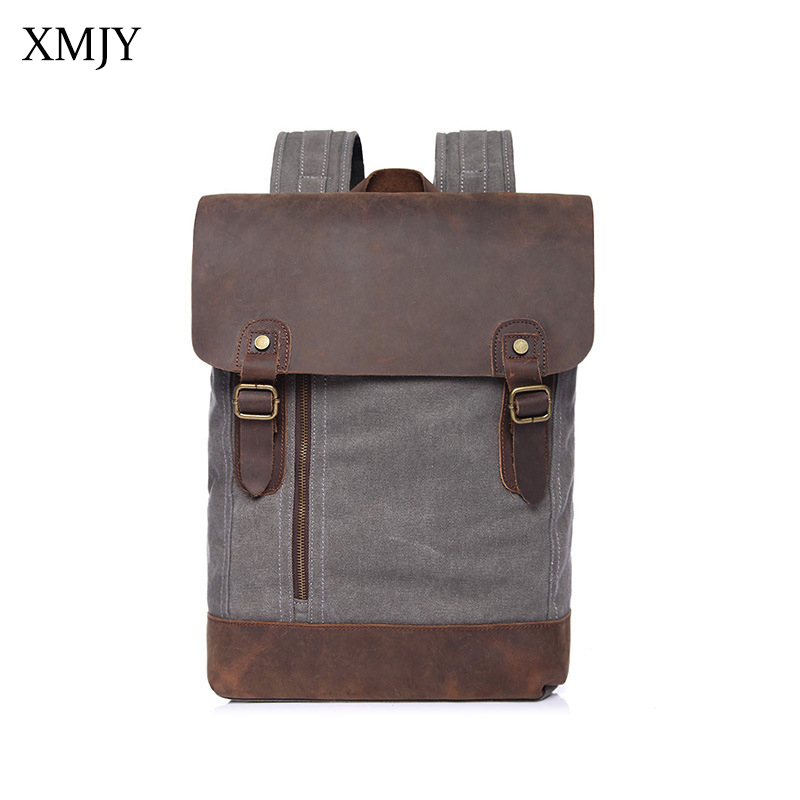 XMJY Canvas Backpacks Fashion Vintage School Bags for College Student Teenagers Boy Girl Canvas+Leather Casual Travel Rucksacks augur fashion men women s backpack canvas travel laptop bag teenagers student school bags rucksacks famale backpacks