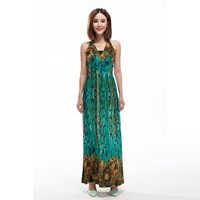 2016 New Summer Fashion Beach Dresses Bohemian Dress Sexy Backless Halter Ice Silk Dresses Personality Printed