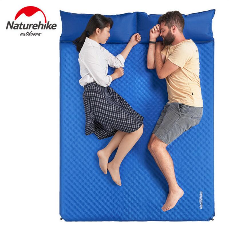 Naturehike Double Inflatable Mattress Outdoor Air Bed Camping Mat Travel Tent Moisture-proof Sleeping Pad With Pillow Yoga Mats naturehike hiking camping mat inflatable mattress with pillow 550g ultralight outdoor tent sleeping pad mats beach air bag bed