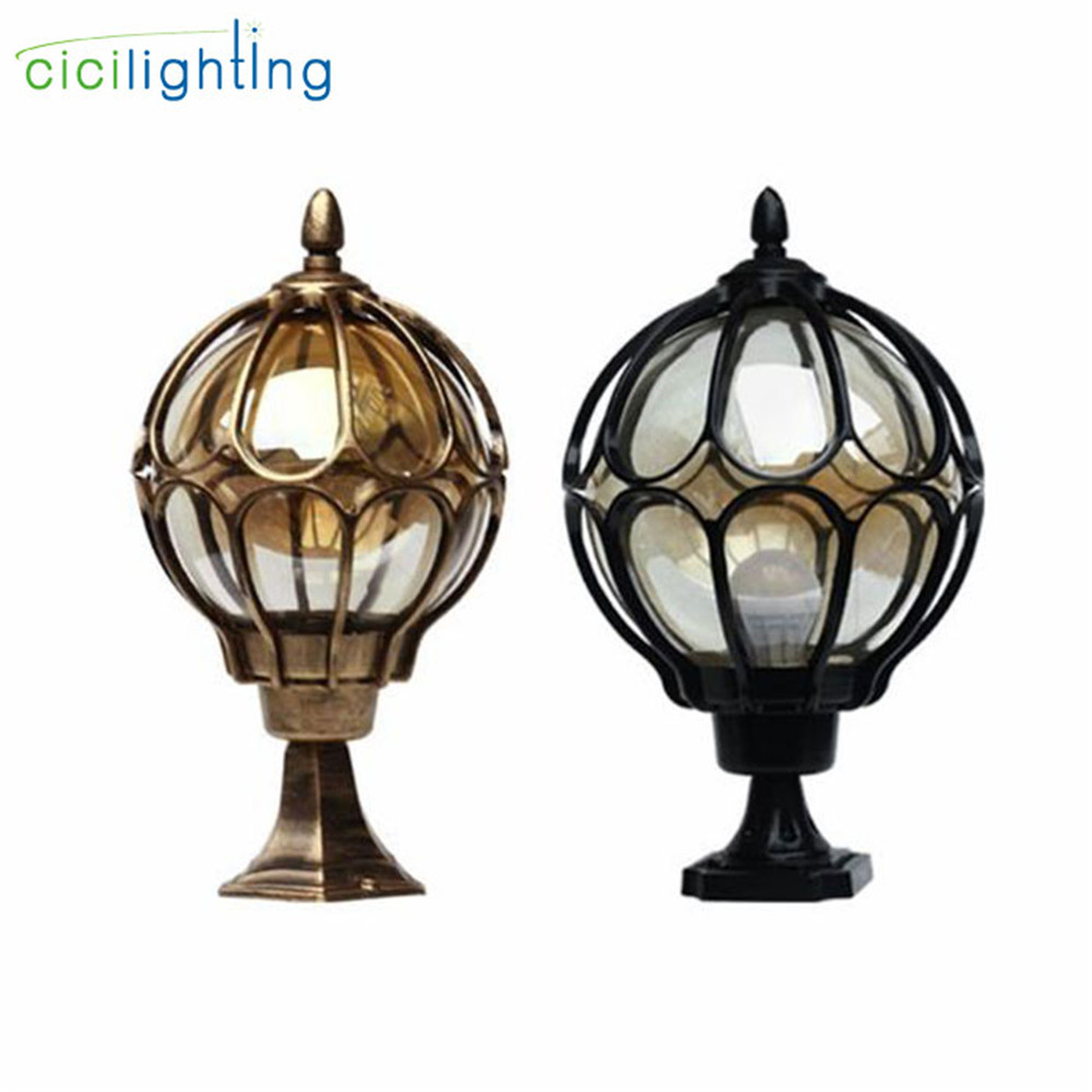 Outdoor Pillar Lamp Wall Lamp European Globe Door Post Lamp Waterproof Exterior Black Round Ball Garden Yard Pillar Lighting