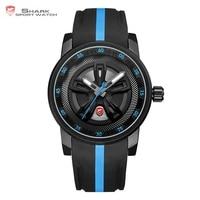 Thresher SHARK Sport Watch Cool Racing Layer Blue 3D Wheel Design Dial Crown Quartz Silicone Strap