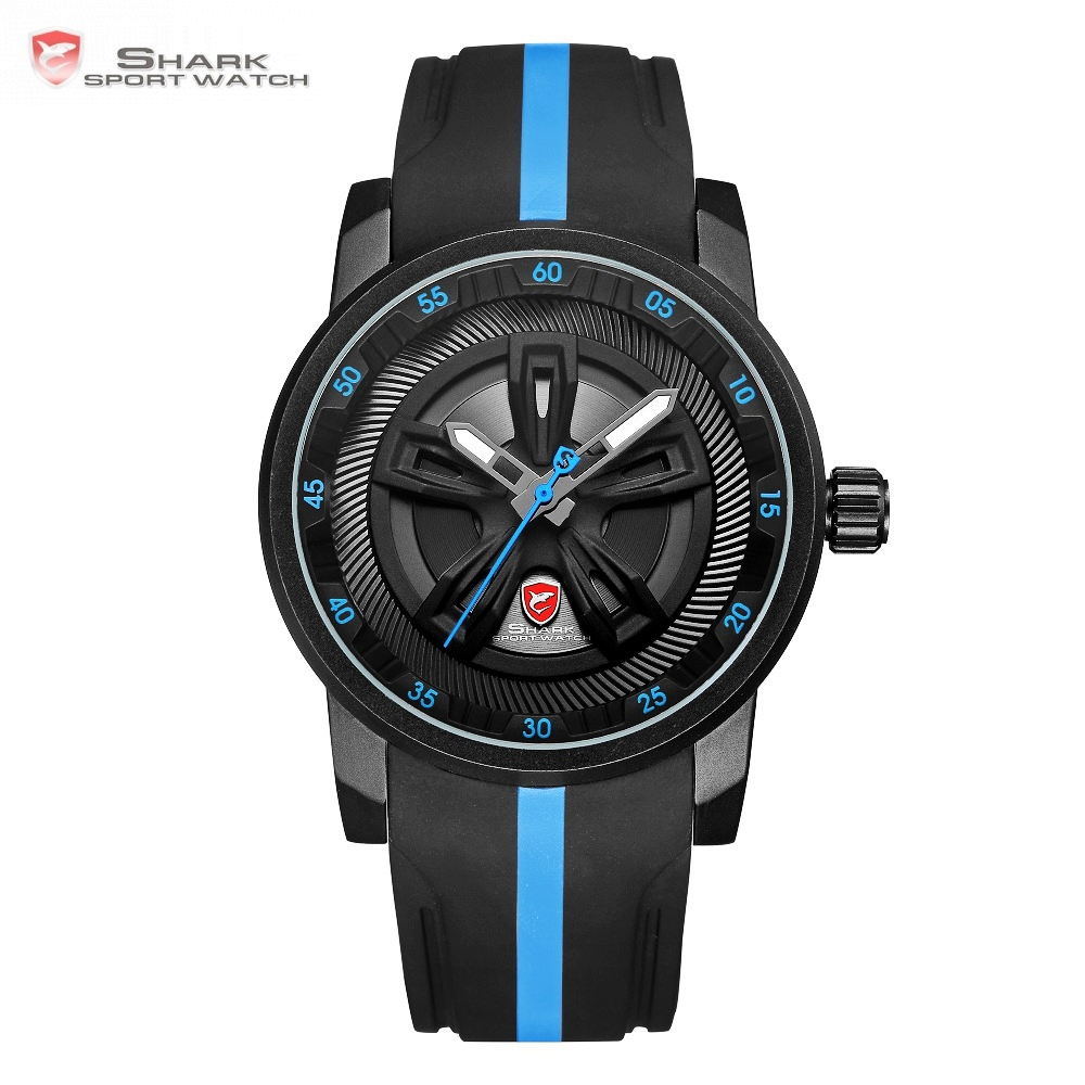 Thresher SHARK Sport Watch Cool Racing Layer Blue 3D Wheel Design Dial Crown Quartz Silicone Strap Men Male Wrist Watches /SH504 cool dial blue backlight led wrist watch 2 x cr2016