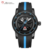 Thresher SHARK Sport Watch Cool Racing Layer Blue 3D Wheel Design Dial Crown Quartz Silicone Strap Men Male Wrist Watches /SH504