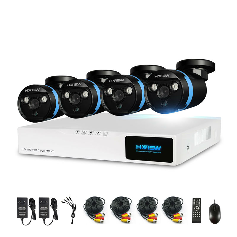 H. View система безопасности камеры 4ch система видеонаблюдения DVR DIY Kit 4x1080 P камера безопасности 2.0mp камера системы видеонаблюдения