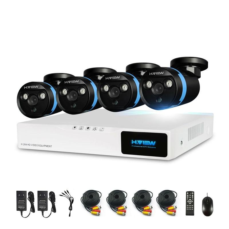 H. View 4ch CCTV caméra système de sécurité Kit 4 1080 P CCTV caméra système de sécurité Kit 1080 P vidéo Surveillance Kits extérieur Kits