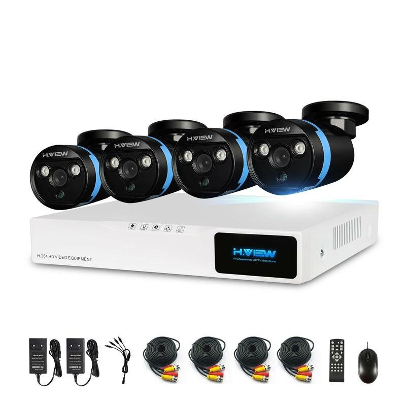 H. vista 4 4ch CCTV Kit Sistema de Segurança Câmera 1080 P CCTV Kit Sistema de Câmera de Segurança 1080 P Kits De Vigilância Por Vídeo ao ar livre Kits