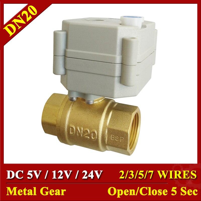 DC 24 V 12 V 5 V BSP/NPT laiton 3/4 ''électrique actionneur vanne 2/3/ 5/7 fils vanne motorisée avec commande manuelle et indicateur