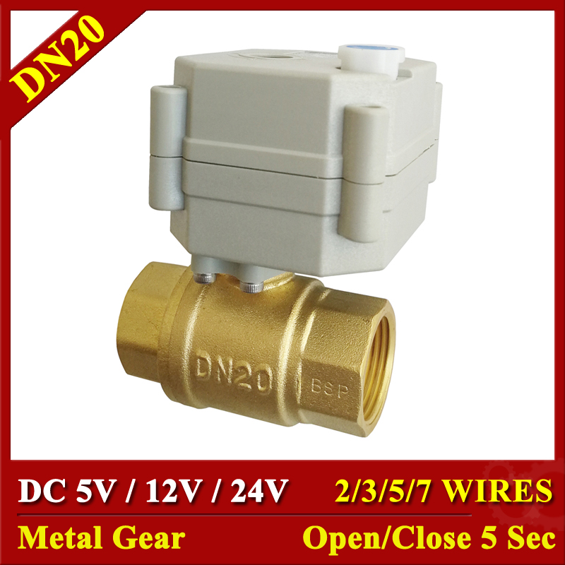 DC 24V 12V 5V BSP/NPT Brass 3/4'' Electric Actuator Valve 2/3/5/7 Wires Motorized Ball Valve With Manual Override And Indicator