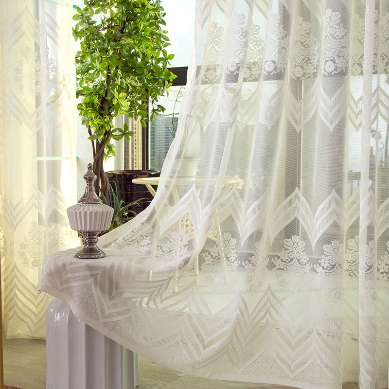 SunnyRain 1-Piece Luxury Jaquard Curtain For Living White Sheer Curtain For Room Bedroom Window Curtains Drapes Customizable