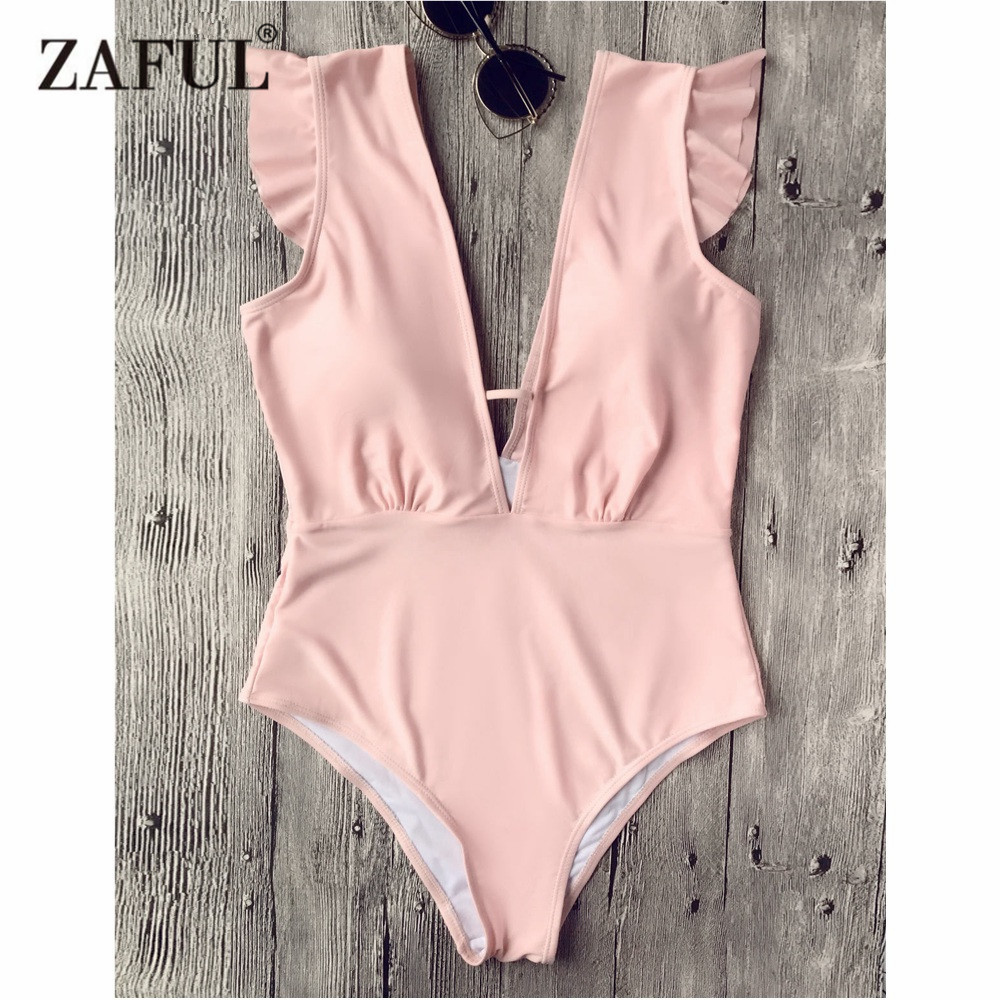 ZAFUL New Plunging Neck Ruffle One Piece Swimsuit Sexy Frilled Deep V Neck Open Back Swimsuit Women Swimwear Summer Beacher наушники promate glitzy красные