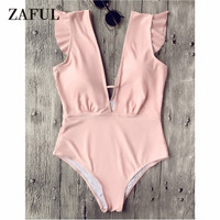 ZAFUL New Plunging Neck Ruffle One Piece Swimsuit Sexy Frilled Deep V Neck Open Back Swimsuit