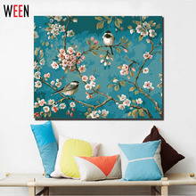 Magpie Tree Flower Painting by Numbers on Canvas Digital Frameless or DIY Framed Wall Pictures 40x50cm For Home Decoration Arts