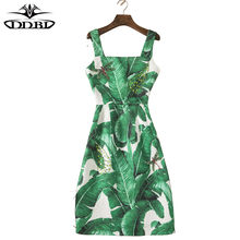 4b5c8fb648b sequined wide straps green banana leaves print spaghetti dress festa  comprar estampados vestidos curtos vestidos da moda 930
