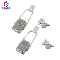 2pcs R602 201Stainless Steel Toggle Latch Hasps with Keys Spring Loaded Cabinet Box Buckle