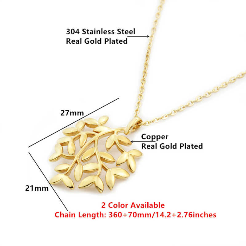 Sparkling Leaves Branch Statement Necklace For Women Tree Of Life Fashion Jewelry Stainless Steel Chain Collier Femme 2018