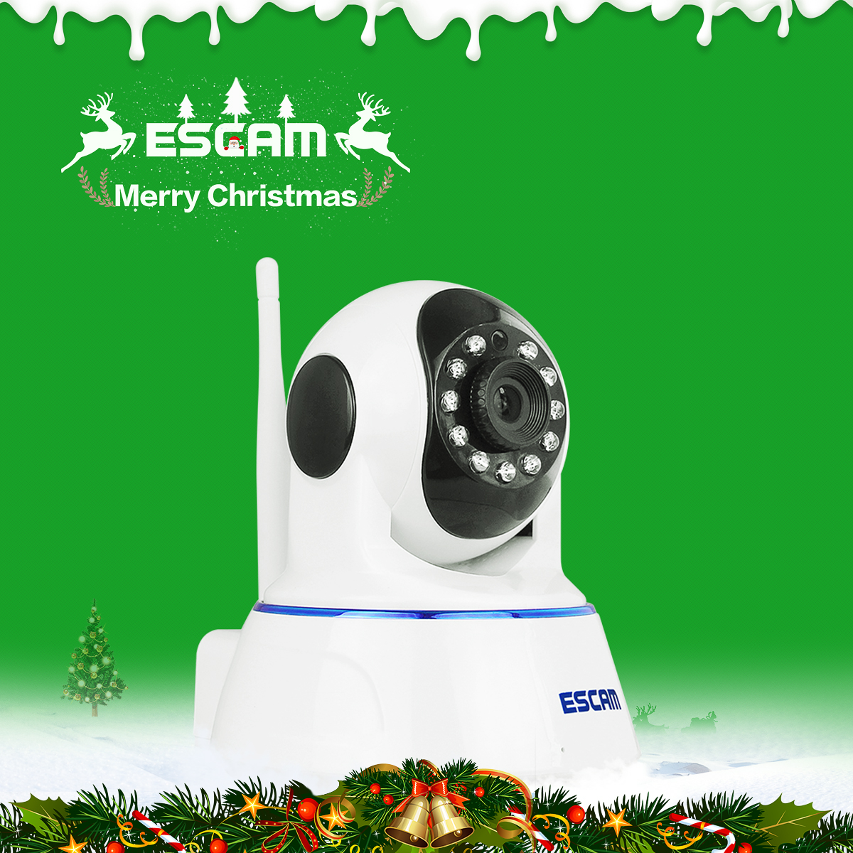 Escam QF002 Mini WiFi IP Camera HD 720P CCTV security Camera System P2P IR Cut Two