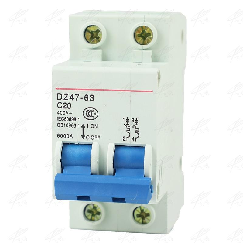 DZ47-63 2P 6A 10A 16A 20A 25A 32A 40A 50A 63A Mini Circuit Breaker MCB Cutout Switch Breaker Switch Chopper 2p dc 500v solar mini circuit breaker 6a 10a 16a 20a 25a 32a 40a 50a 63a dc mcb mini circuit breakers