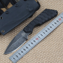 SMF Fixed Blade Hunting Knives G10 Handle Stone Polished 9CR13MOV Balde Outdoor Survival Rescue Knife Camping Diving