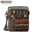 UNISOUL National Crossbody Bags for Men 2016 Vintage Male Canvas Shoulder bag Striped small square package
