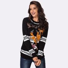 47c2b7c55314 De las mujeres de la moda suéter de punto traje de Navidad Reno copo de  nieve patrones nuevo Otoño Invierno Jersey Tops,