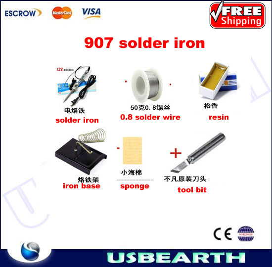 Freeshipping, 907 standard soldering iron with accessories, rosin,iron base, sponge, GJ 907 solder iron 220V 60W, high quality