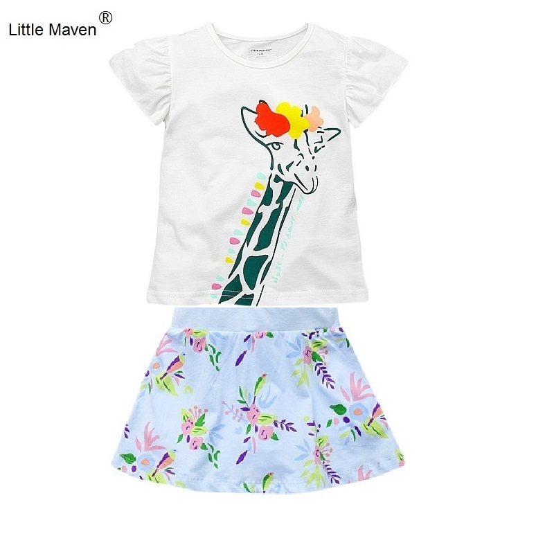 2017 Summer Little Maven 1-6 Years Baby Girls Clothing Set Short Sleeve T-shirt+Skirt 2pcs Kids 100% Cotton Clothes Set KF161 2017 summer new children baby girl clothing denim set outfits short sleeve t shirt overalls skirt 2pcs set clothes baby girls