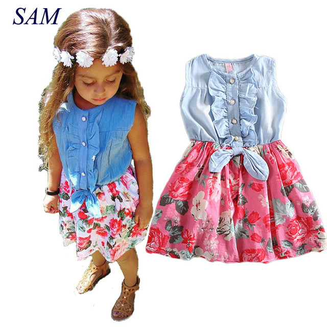 Платье для маленьких девочек, 2018 милое популярное детское джинсовое платье с бантом и цветочным принтом, сарафан с оборками, платье для девочек, одежда, костюм