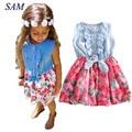 Baby Mädchen Kleid 2019 Schöne Heißer Kinder Jean Denim Bogen Blume Rüschen Sommerkleid Kleid für Mädchen Kleidung Kostüm-in Kleider aus Mutter und Kind bei