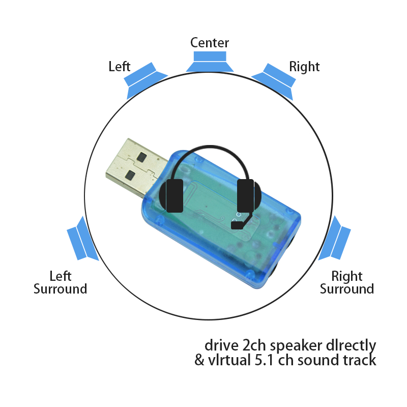 Image 2 - USB Sound Card 3.5mm Usb Adapter 3D Audio 5.1 Mini External Interface Mic Speaker For Laptop PC Computer Micro Data De Audio-in Sound Cards from Computer & Office
