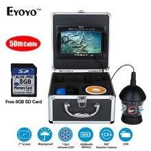 EYOYO 8GB 50M/164FT 800TVL 360 Degree Rotation Fishfinder 7″LCD Underwater Fishing Camera 12pcs Infrared LED DVR Video Recorder