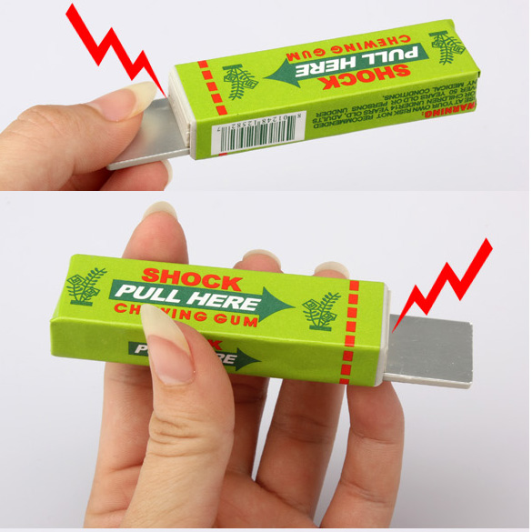 Safety Trick Joke Toy Electric Shock Shocking Funny Pull Head Chewing Gum Gags & Practical Funny Tricky Things