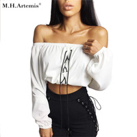 M H Artemis Sexy Short Tops Off Shoulder Slash Neck White Lace Up Long Sleeve