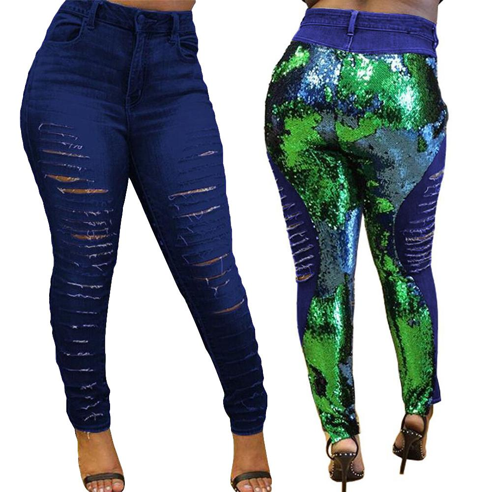 Shiny Reversible Pant Sequins Color Changing Ripped   Jeans   Women Skinny Denim Pants 2019