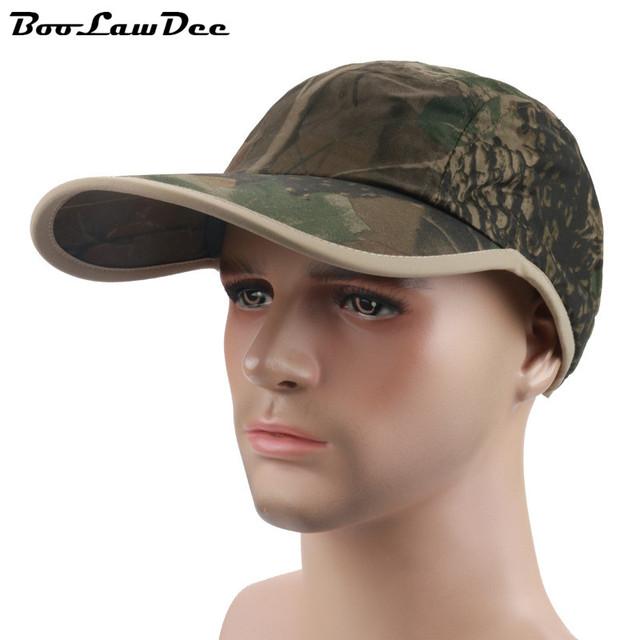 BooLawDee Homem da selva camuflagem boné de beisebol cúpula pele-friendly 4F105 sweatband ampliar longo viseira ajustável tamanho livre