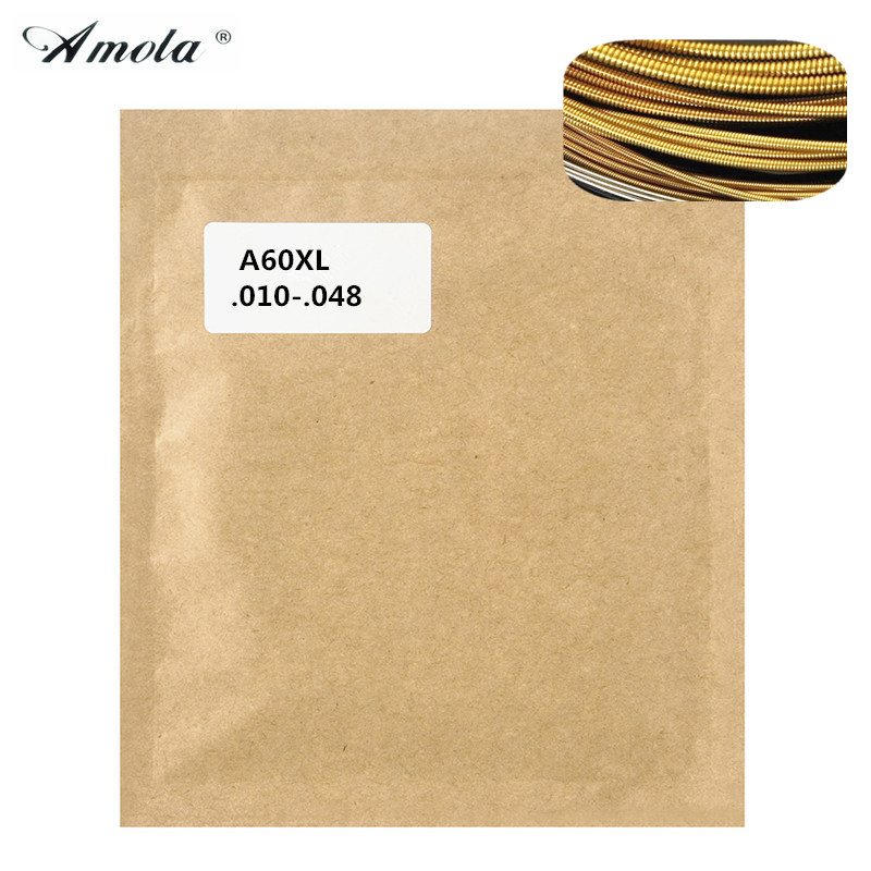 Amola A60XL Acoustic Guitar Strings 010-048 Steel Phosphor Bronze String Wound Guitar Parts 6strings/set 3 sets alice aw466 light acoustic guitar strings plated high carbon steel