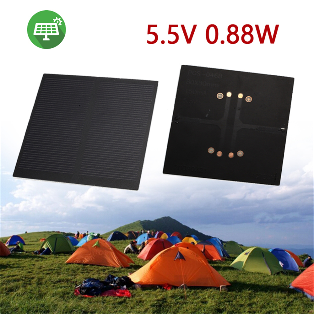 BCMaster Solar Panel Solar Charger Pane Solar Cell Frosted Glass Plate Durable 5.5V 0.88W Monocrystalline Silicon Phone Charger