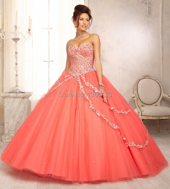 2014 Princess Coral Ball Gown Dress for 15 Years Debutante Gown ...