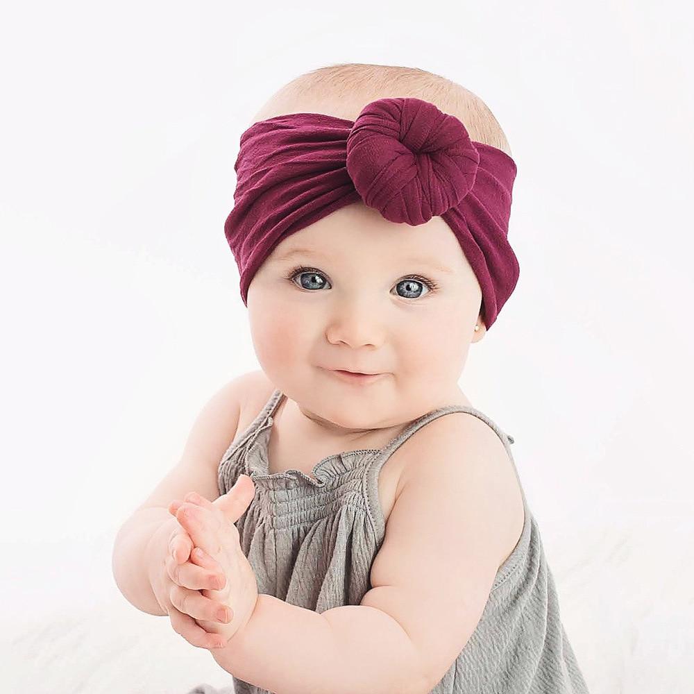 Baby Girls Round Knot Nylon Headbands Elastic Wide Nylon Hair Bands Newborn Turban Round Hair Accessories Bebe Head Wrap 12Color