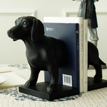 Architect / New American retro style black resin dachshund Bookends ornaments  D0035