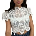 Top Selling For Women Sexy Hollow Out Tank Tops Summer Style Elegant Black Lace Crochet Crop Top Girls Short Sleeve White Shirt