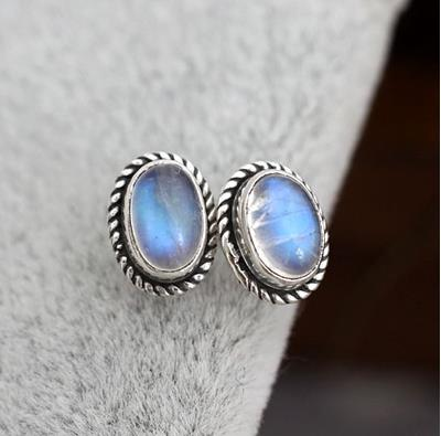 цена на India and Nepal handmade 925 sterling silver jewelry inlaid natural Moonstone retro oval earrings earrings for men and women