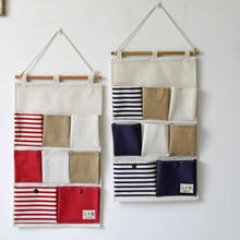 8 Pockets Portable Toy Stifching Storage Bag Cotton And Linen Office  Bedroom Wall Pocket Eco Friendly Hanging Organizer