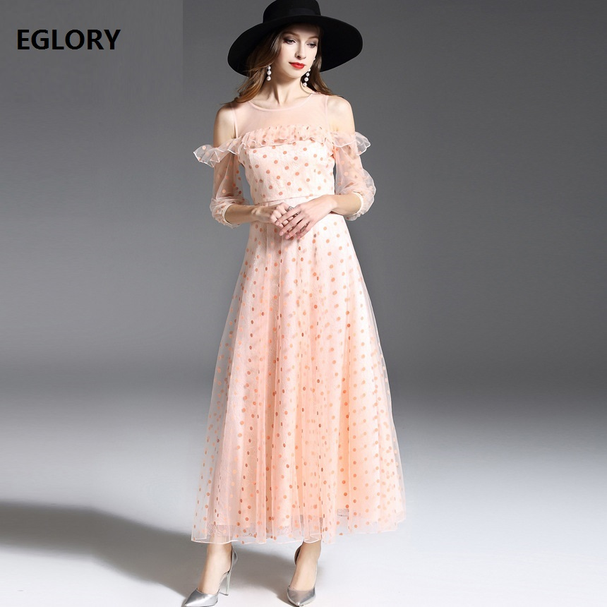 Luxury Ladies Long Dreses 2018 Spring Summer Sweet Women Sexy Off the Shoulder Polka Dot Print Ruffles Lace Tulle Dress Longo ...