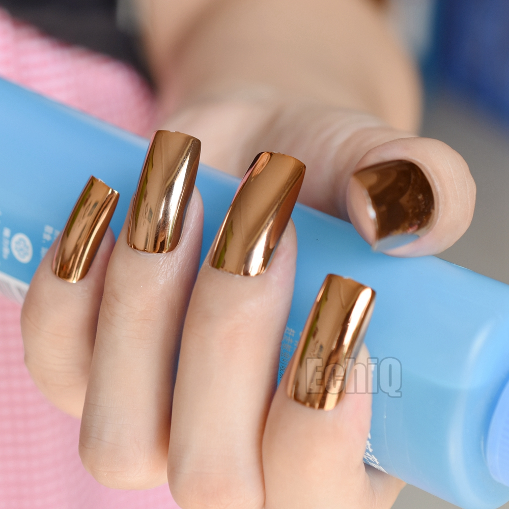 Metallic Falsche Nägel Mode Gold Brown Acryl Nägel Full Wrap ...