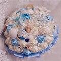 Новый морей и океанов стиль свадебные букеты bkue и белый раковины морские звезды и алмаз украшения невесты букет для пляж свадьба